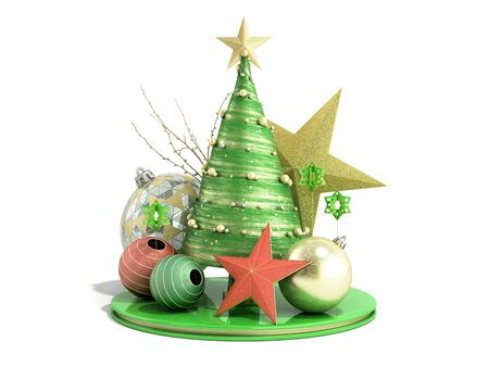 new year green decorative Christmas tree 3d render on white