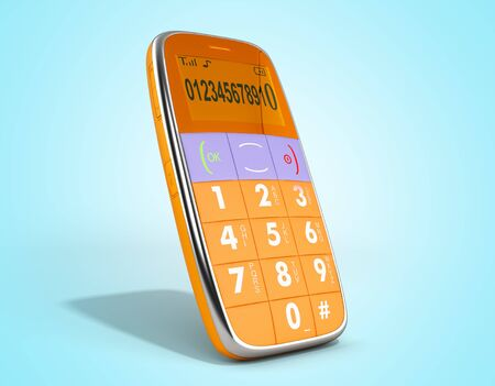 old style phone 3d render on on blue gradient