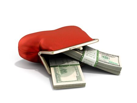 Red wallet 3d render on white background