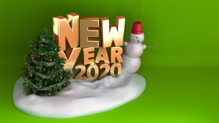 new year 2020 Christmas tree background on snow podium 3d render on green gradient Stock fotó