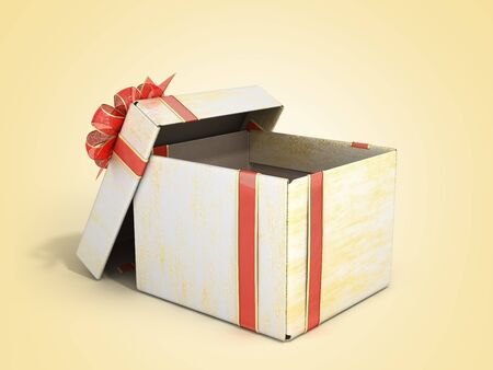 open empty new year Gift Boxe 3d render on color gradient