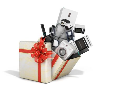 Home appliances fly out of a christmas gift box 3d render on white