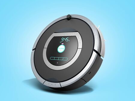 smart robotic vacuum cleaner 3d render on blue