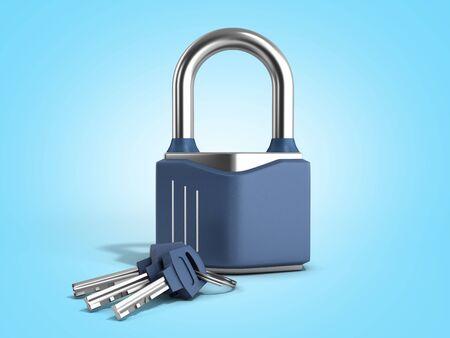 steel clasic lock with keys 3d render on blue gradient