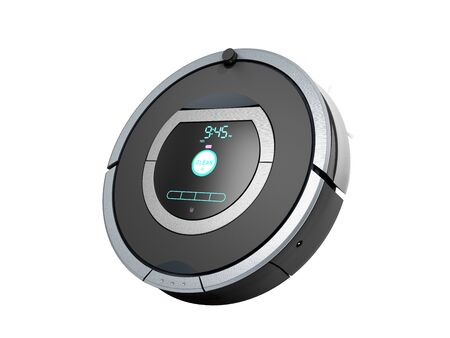 smart robotic vacuum cleaner 3d render on white no shadow