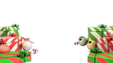 christmas gift boxes and accessories on the flor background with place for text 3d render on white no shadow