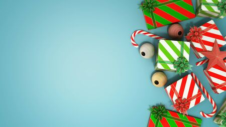 christmas gift boxes and accessories background with place for text 3d render on blue gradient