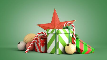 christmas gift boxes and accessories background 3d render on green gradient