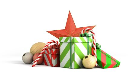 christmas gift boxes and accessories background 3d render on white