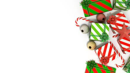 christmas gift boxes and accessories background with place for text 3d render on white