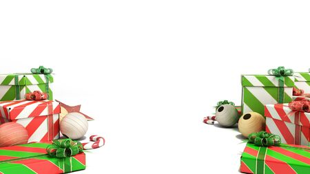 christmas gift boxes and accessories on the flor background with place for text 3d render on white