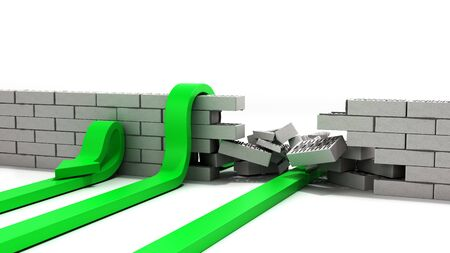 concept of various solutions to problems green arrows break through the wall or jump over the wall or turn around 3d render on white