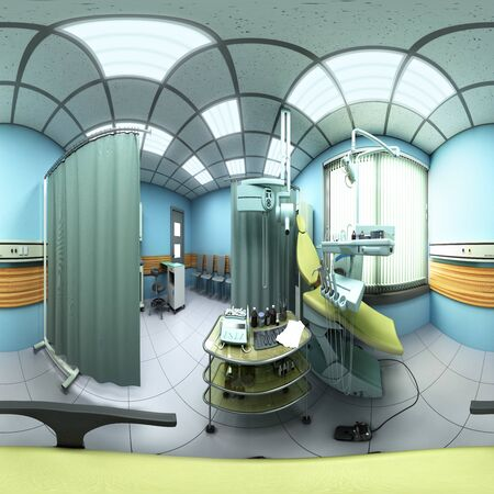 Special equipment for a dentist dentist office 360 panorama 3d render