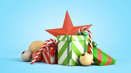 christmas gift boxes and accessories background 3d render on blue gradient