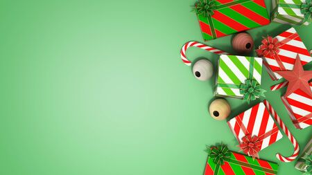 christmas gift boxes and accessories background with place for text 3d render on green gradient Stock Photo
