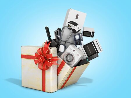 Home appliances fly out of a christmas gift box 3d render on blue gradient