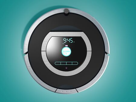 smart robotic vacuum cleaner 3d render on color gradient