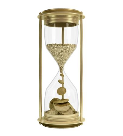 time is money concept golden hourglass 3d render on white no shadow Reklamní fotografie
