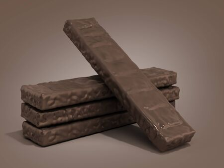 Four rectangle shape wafer biscuits in chocolate icing 3d render on color gradient Reklamní fotografie