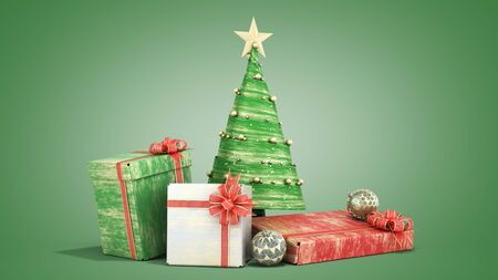 new year decorative Christmas tree and new year Gift Boxes 3d render on green gradient