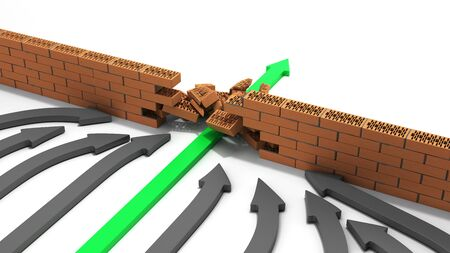 obstacle management concept green arrow breaks through the wall 3d render on white
