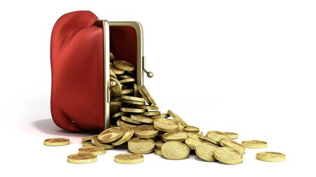 Red wallet with gold money coins 3d render on white background
