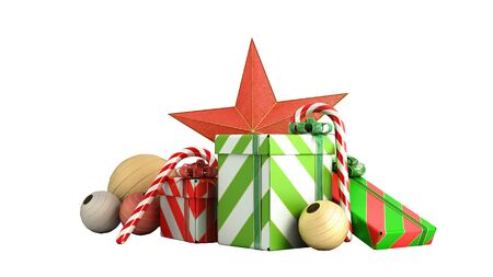 christmas gift boxes and accessories background 3d render on white no shadow