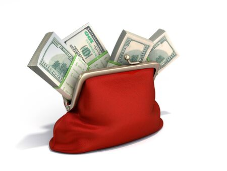 Red wallet with dollar money stacks 3d render on white background