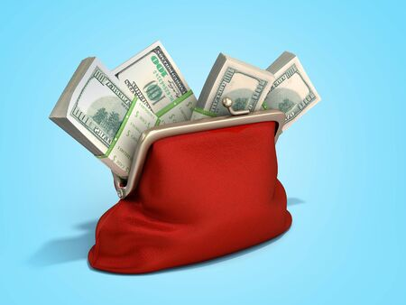 Red wallet with dollar money stacks 3d render on blue gradient background Reklamní fotografie