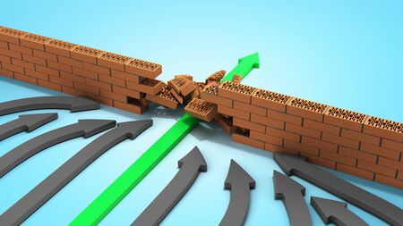 obstacle management concept green arrow breaks through the wall 3d render on blue gradient