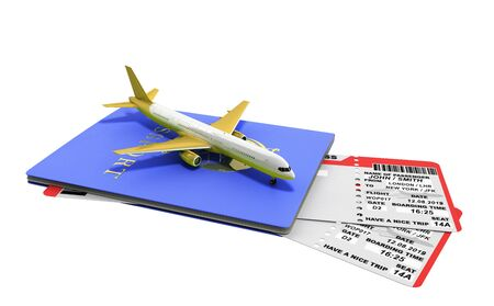 Modern World traveling world concept passport with airline tickets and airplane 3d render on white no shadow