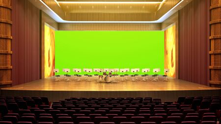 interior of concert hall 3d render image green screen