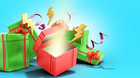 open christmas gift boxes and accessories background 3d render on blue gradient Reklamní fotografie