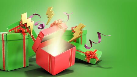 open christmas gift boxes and accessories background 3d render on green gradient Reklamní fotografie