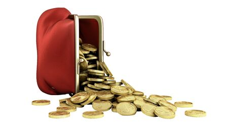 Red wallet with gold money coins 3d render on whitr no shadow Reklamní fotografie