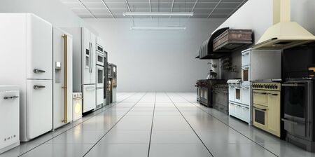 kitchen appliances in supermarcket 3d render image background Reklamní fotografie