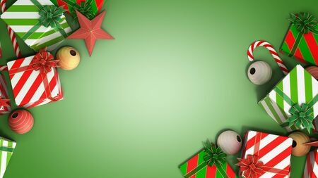 christmas gift boxes and accessories background with place for text 3d render on green gradient Reklamní fotografie