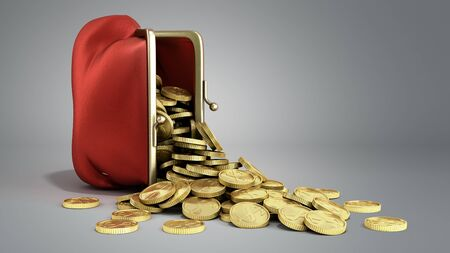 Red wallet with gold money coins 3d render on grey gradient background Reklamní fotografie
