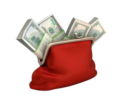 Red wallet with dollar money stacks 3d render on white no shadow
