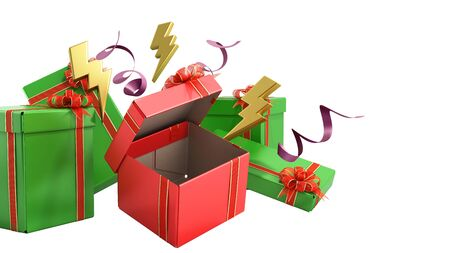 open christmas gift boxes and accessories background 3d render on white no shadow