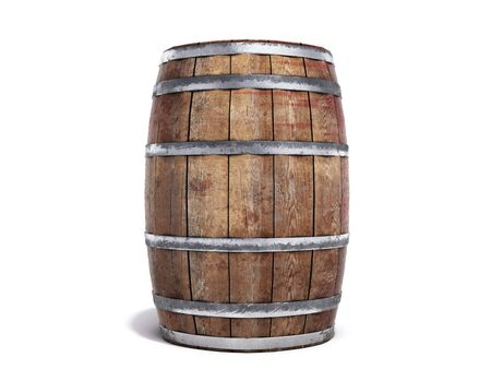 Wooden barrel isolated on white background 3d illustration Reklamní fotografie