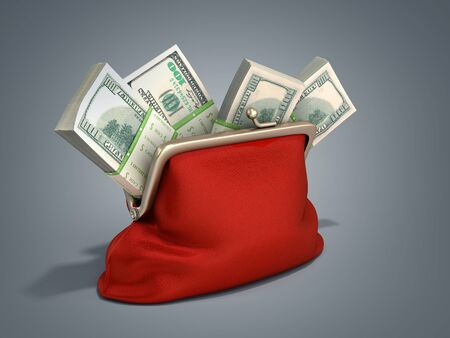 Red wallet with dollar money stacks 3d render on grey gradient background