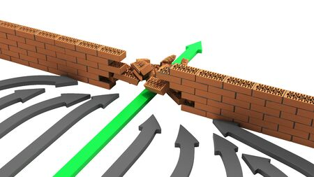 obstacle management concept green arrow breaks through the wall 3d render on white no shadow