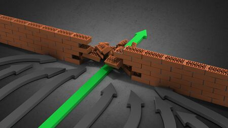 obstacle management concept green arrow breaks through the wall 3d render