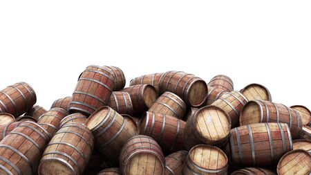 Wooden barrels pile isolated on white background 3d illustration Reklamní fotografie
