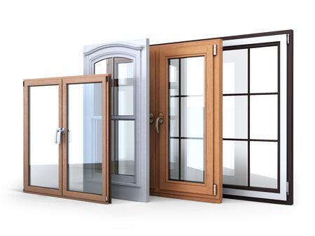 Diferentes tipos de promoción de venta de ventanas en blanco.