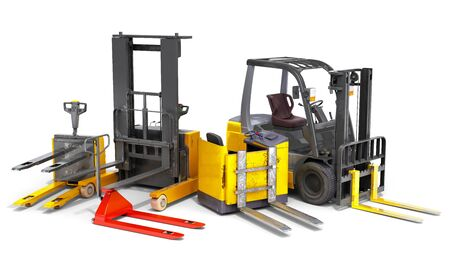 Different Forklift loaders 3D render on white