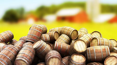 Wooden barrels pile 3d illustration image
