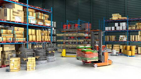 Hangar delivery warehouse 3d render image