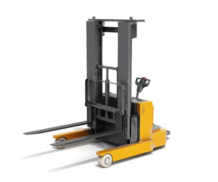 Forklift loader 3D render on white background